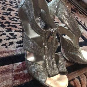 Michael Kors silver zip heels